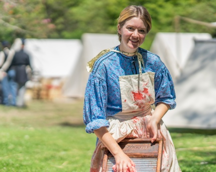 A charming lady reenactor at the HB Civil War Days.